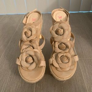 Beige T-strap Wedges. Size 6.5